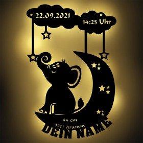 Nachtlicht - Mond und Elefant mit Personalisierung