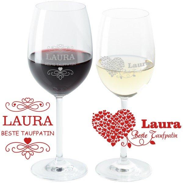 Weinglas - Beste Taufpatin mit Wunschname