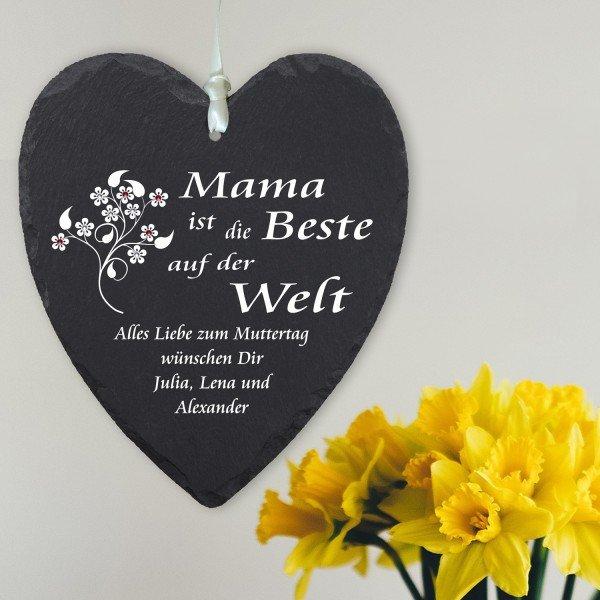 - Schieferherz mit Swarovski Muttertag - Onlineshop Geschenke24
