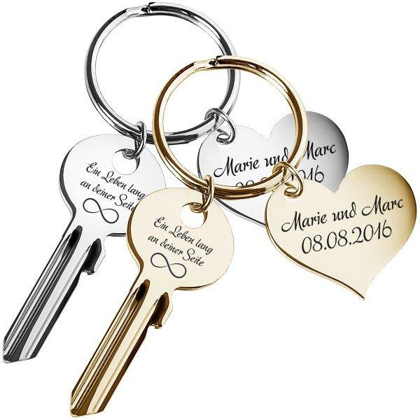 Schlüssel - Ein Leben lang an deiner Seite mit Gravur
