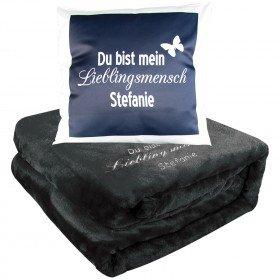 """Kuschel Set - Decke und Kissen """"Lieblingsmensch"""""""