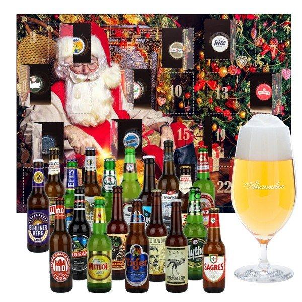 Bier-Adventskalender mit graviertem Bierglas