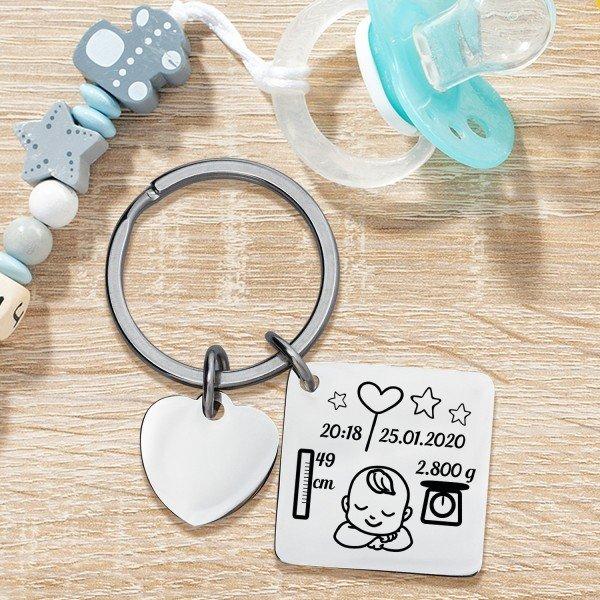 - Schlüsselanhänger mit Herz zur Geburt - Onlineshop Geschenke24