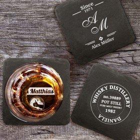 Untersetzer aus Schiefer - Whisky mit Personalisierung