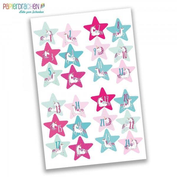 Adventskalender Aufkleber - Einhorn Sterne