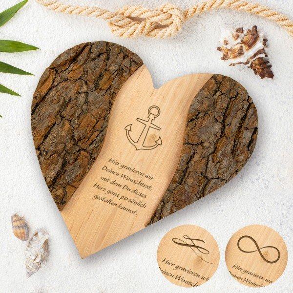 Holz-Herz mit Wunschtext