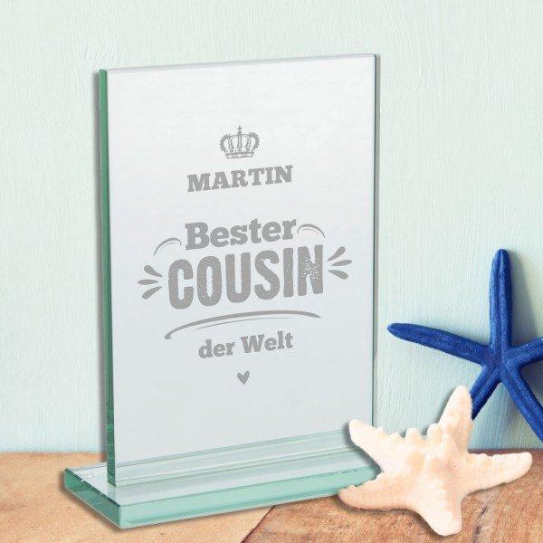 Glaspokal - Bester Cousin mit Gravur