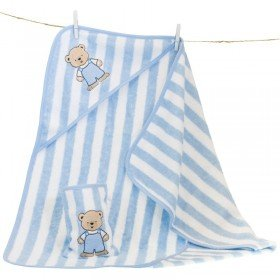 Kapuzenhandtuch und Waschhandschuh - Teddy