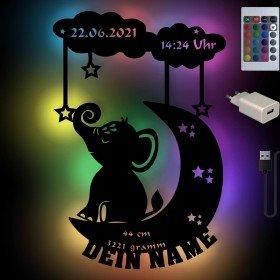 Farbwechsel Nachtlampe - Mond und Elefant