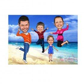 Karikatur von Deinem Foto - Familienportrait
