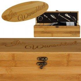Gravierte Bambus-Geschenkbox für eine Weinflasche
