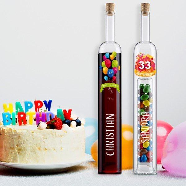 Hohlraumflasche Geburtstag mit Personalisierung