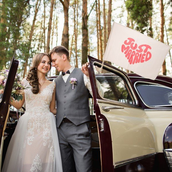 Autofahne - Just Married