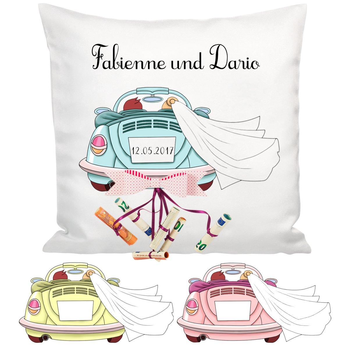 personalisiertes kissen hochzeitsauto f r geldscheine. Black Bedroom Furniture Sets. Home Design Ideas