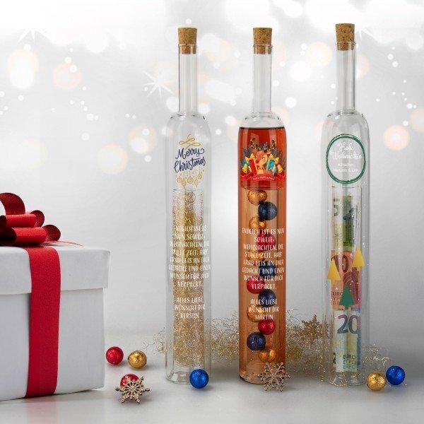 Hohlraumflasche Weihnachten mit Wunschtext