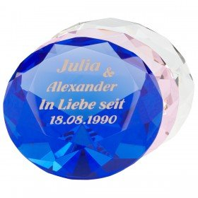 Herz diamant mit gravur und swarovski kristallen
