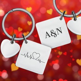 Schlüsselanhänger - Herzschlag mit Personalisierung