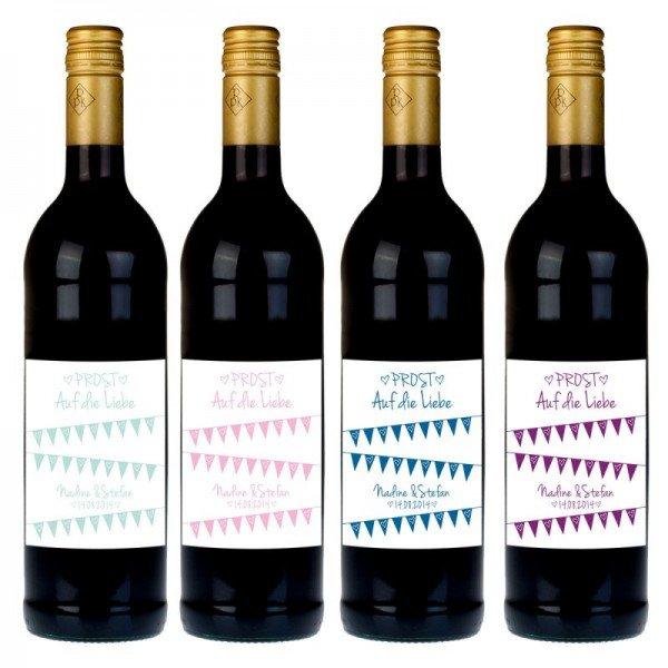 Personalisierte Weinflasche mit Etikett