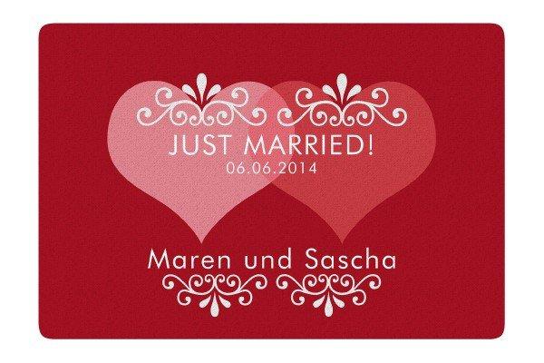 Fußmatte - Just Married mit Personalisierung