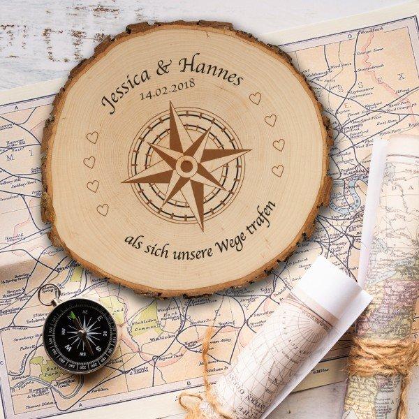 Baumscheibe Kompass - Druck oder Gravur