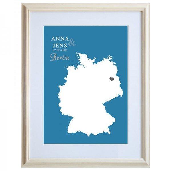 Bild - Landkarte blau mit Personalisierung - Rahmen Natur