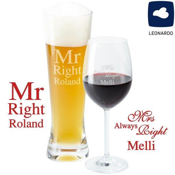 Wein-Bier-Set - Mr & Mrs Right