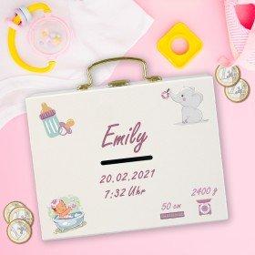 Geldkoffer zur Geburt mit Personalisierung