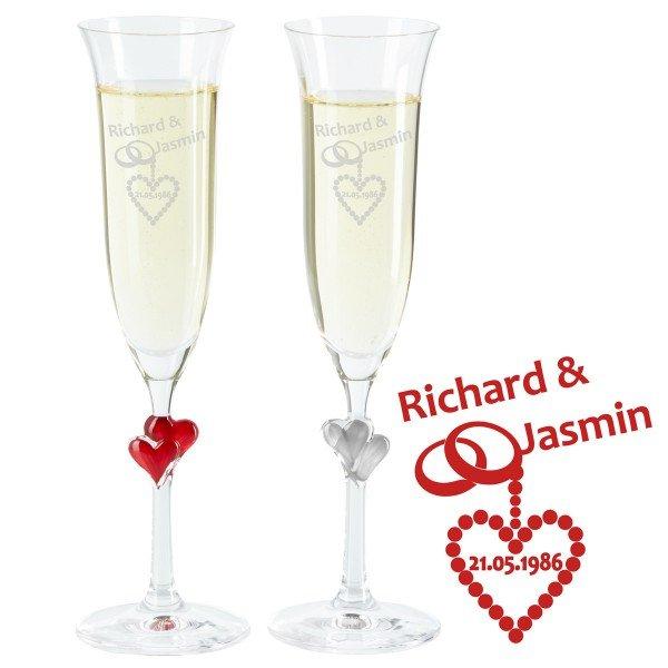 Individuellküchenzubehör - Sektglas Set Perlenhochzeit - Onlineshop Geschenke24
