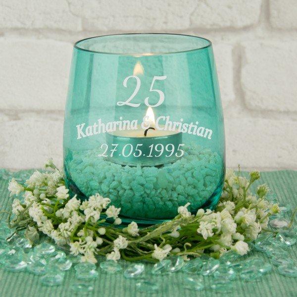 - Teelicht Windlicht Silberhochzeit - Onlineshop Geschenke24