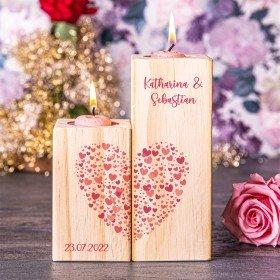 Kerzenständer Set - Herzwolke mit Personalisierung