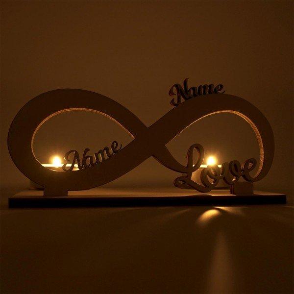Teelichthalter - Unendliche Liebe mit Wunschnamen