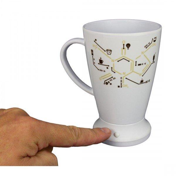 Selbstumrührender Becher Koffein Molekül