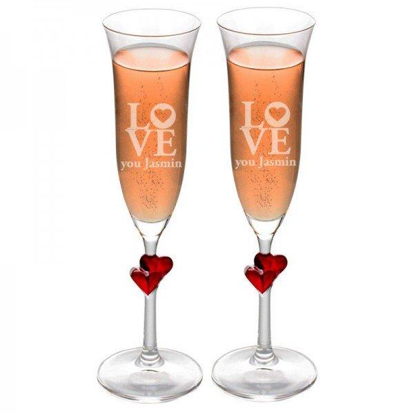 Sektglas Set - Love you - rote Herzen