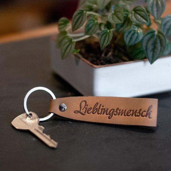 Schlüsselanhänger aus Leder - Lieblingsmensch