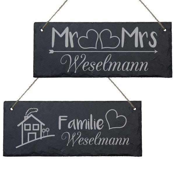 Schiefertafel mit Gravur für Ehepaare
