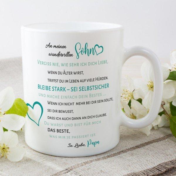 Tasse mit Spruch von dem Papa für Sohn/Tochter