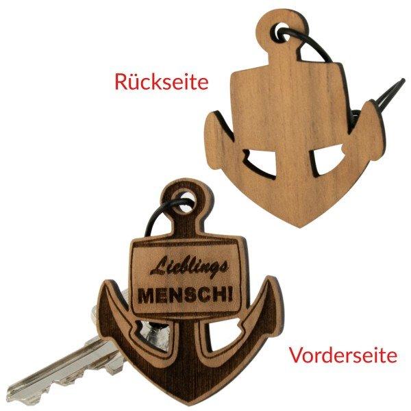 Schlüsselanhänger aus Holz mit Gravur - Anker