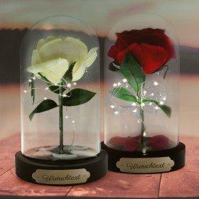 Ewige Rose im Glas mit Personalisierung