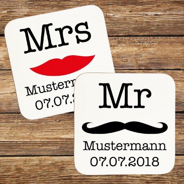 Untersetzer - Mr & Mrs mit Personalisierung