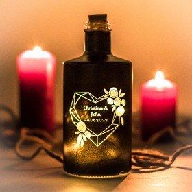 Flasche mit LED - Herz Floral