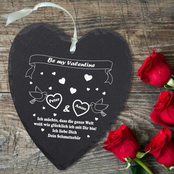 Schieferherz Valentinstag mit Personalisierung