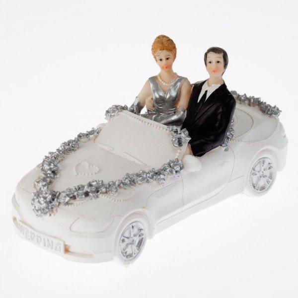 Figur - silberne Hochzeit - Brautpaar im Auto