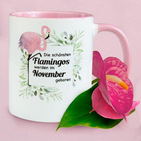 Flamingo Tasse mit Geburtsmonat