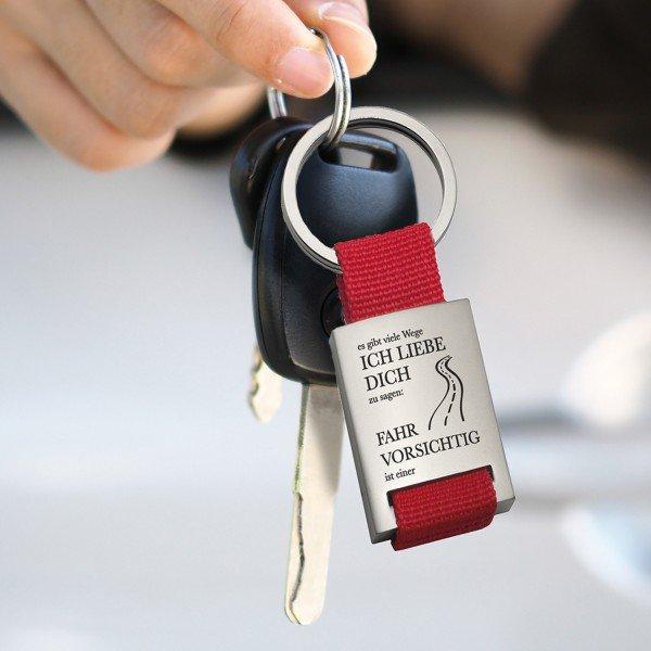 Schlüsselanhänger - Fahr vorsichtig - mit Wunschname