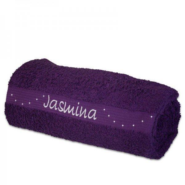 Handtuch in Lila - mit Wunschname und Swarovski