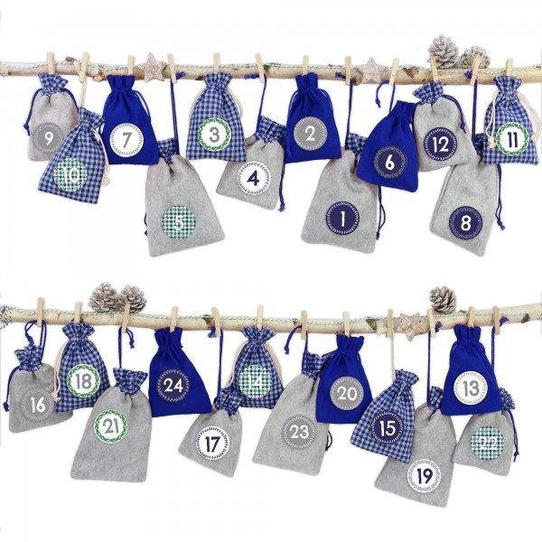 Adventskalender zum Befüllen Grau-Blaue Säckchen