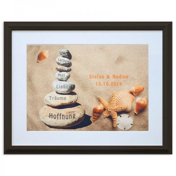Wandbild - Steine im Sand (dunkelbraun)
