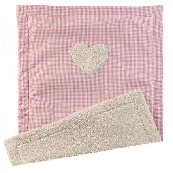 Flauschige Babydecke mit Wunschname - Herz - Rosa