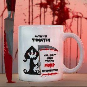 Kaffeetasse mit Personalisierung - Kaffee statt Mord