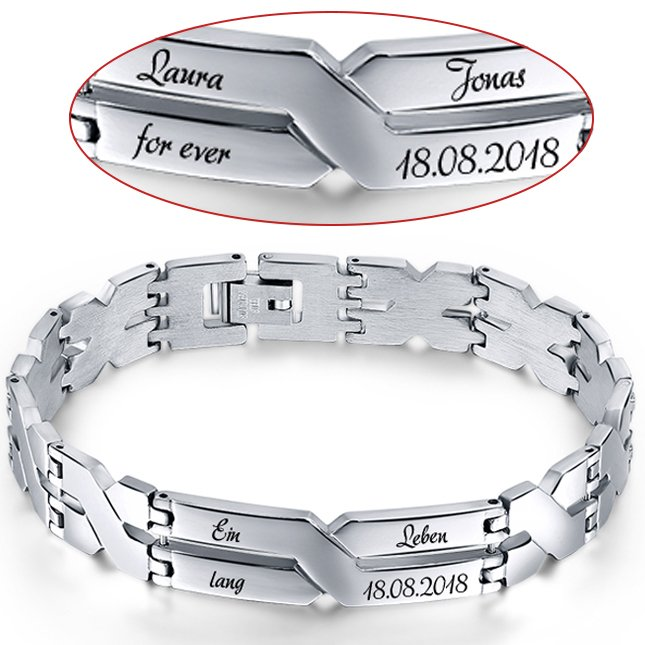 Fang Dauerhafter Service online hier Edelstahl-Armband mit Gravur